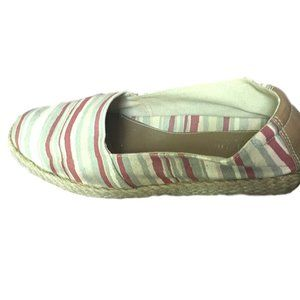 Easy Spirit Red Grey Tan Cream Striped Shoe  10M